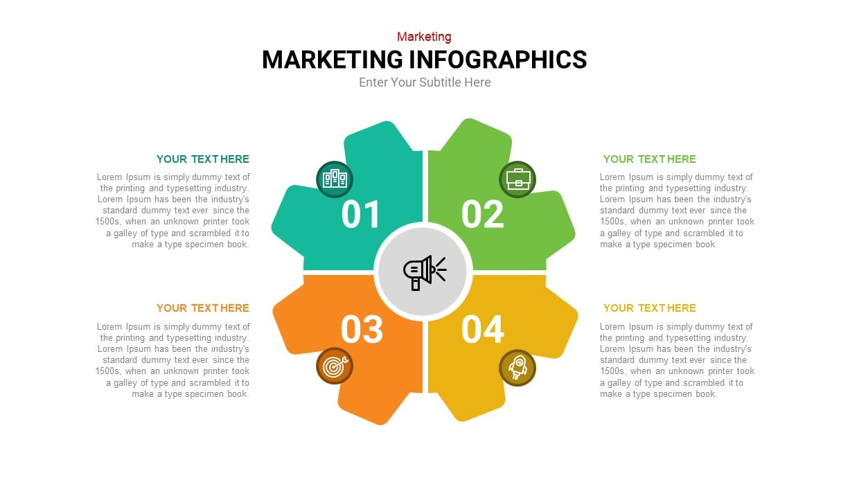 4 step circular marketing powerpoint template