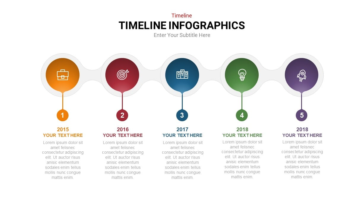 5 stage linear timeline powerpoint template