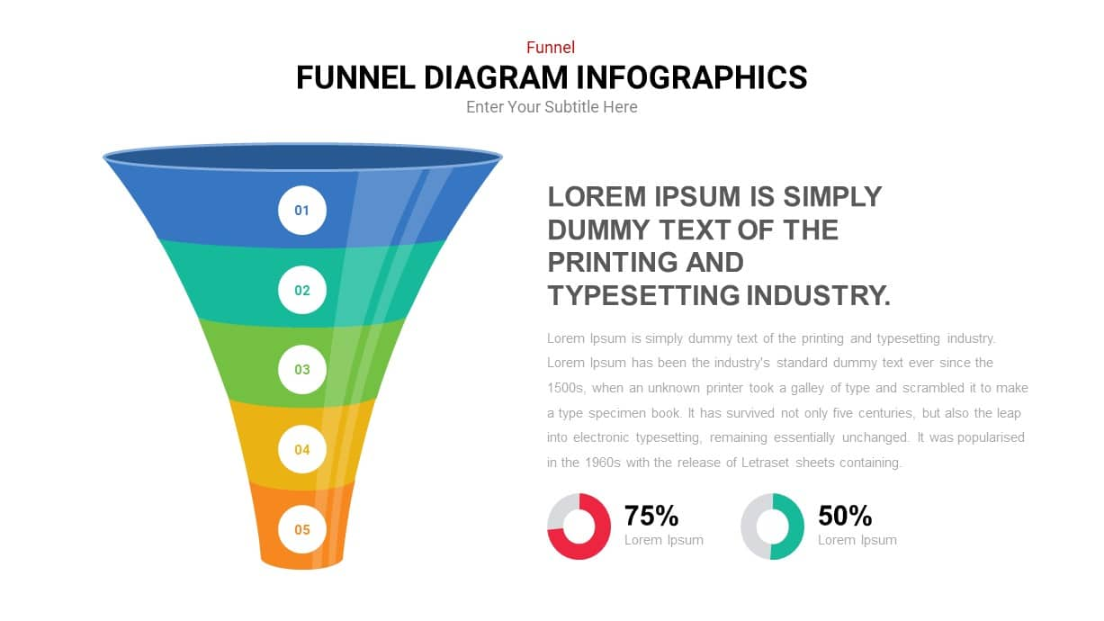 5 step horizontal funnel powerpoint template