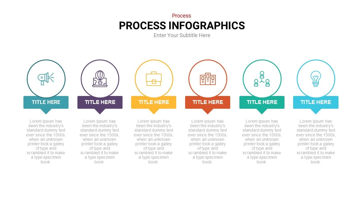 Linear process diagram infographic template