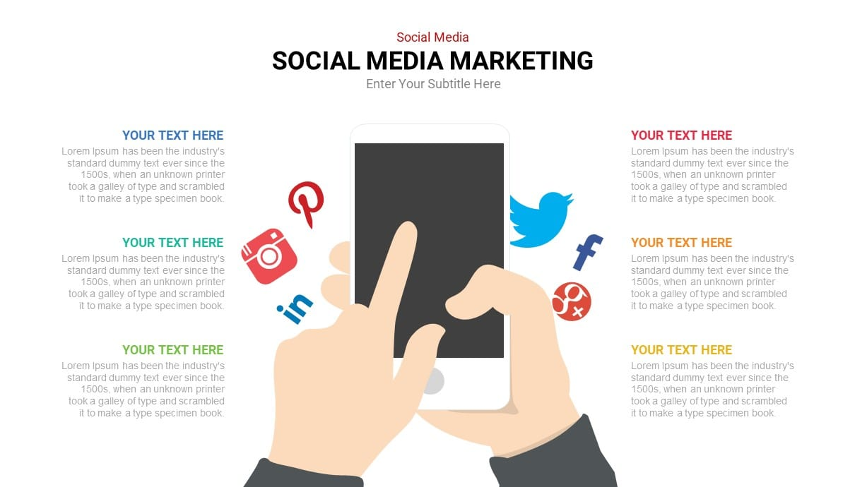 Mobile with social media Icons Powerpoint Template
