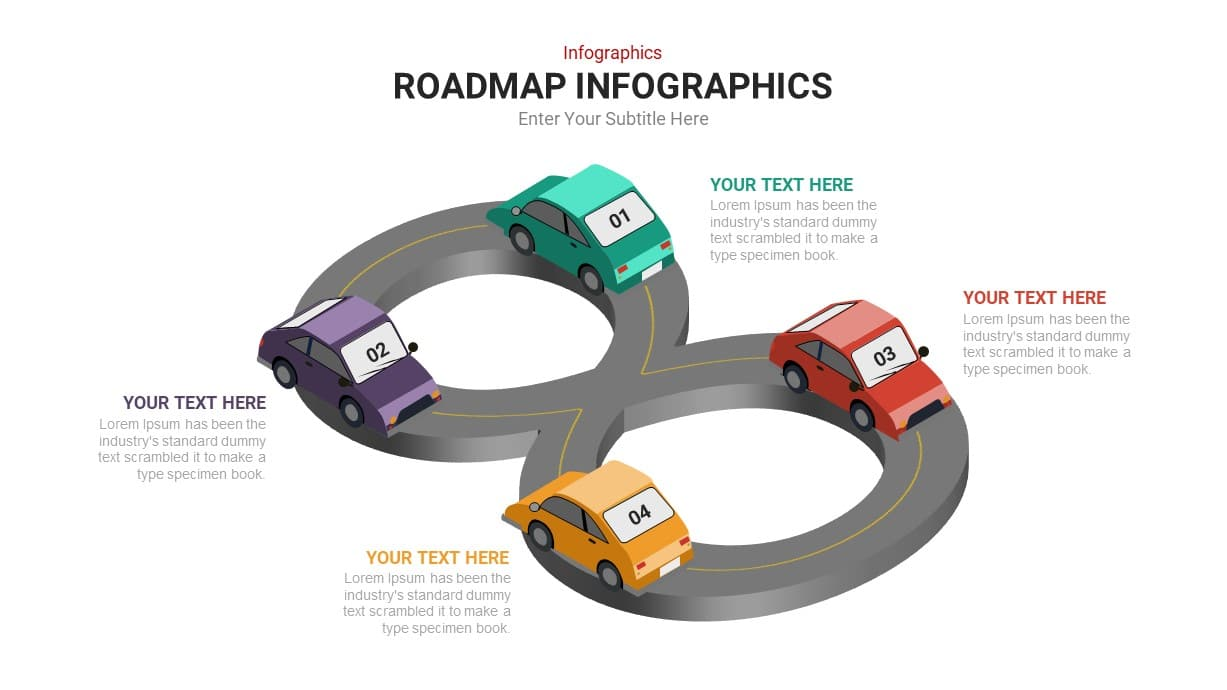 4 Step PowerPoint Roadmap Infographic Template