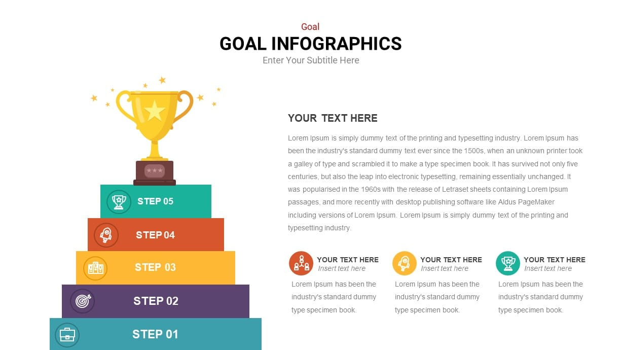 5 Step to Goal Infographic PowerPoint Template