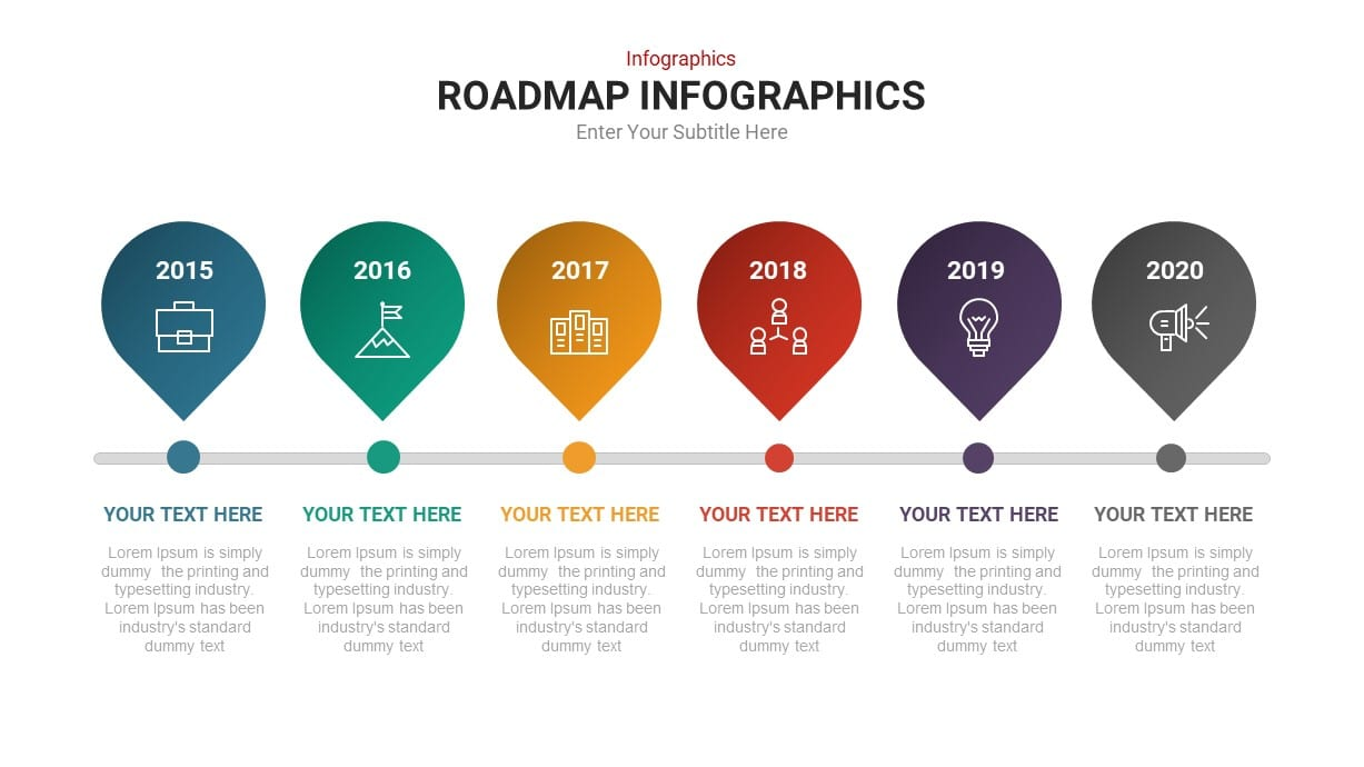 6 Step Timeline Roadmap Infographic template